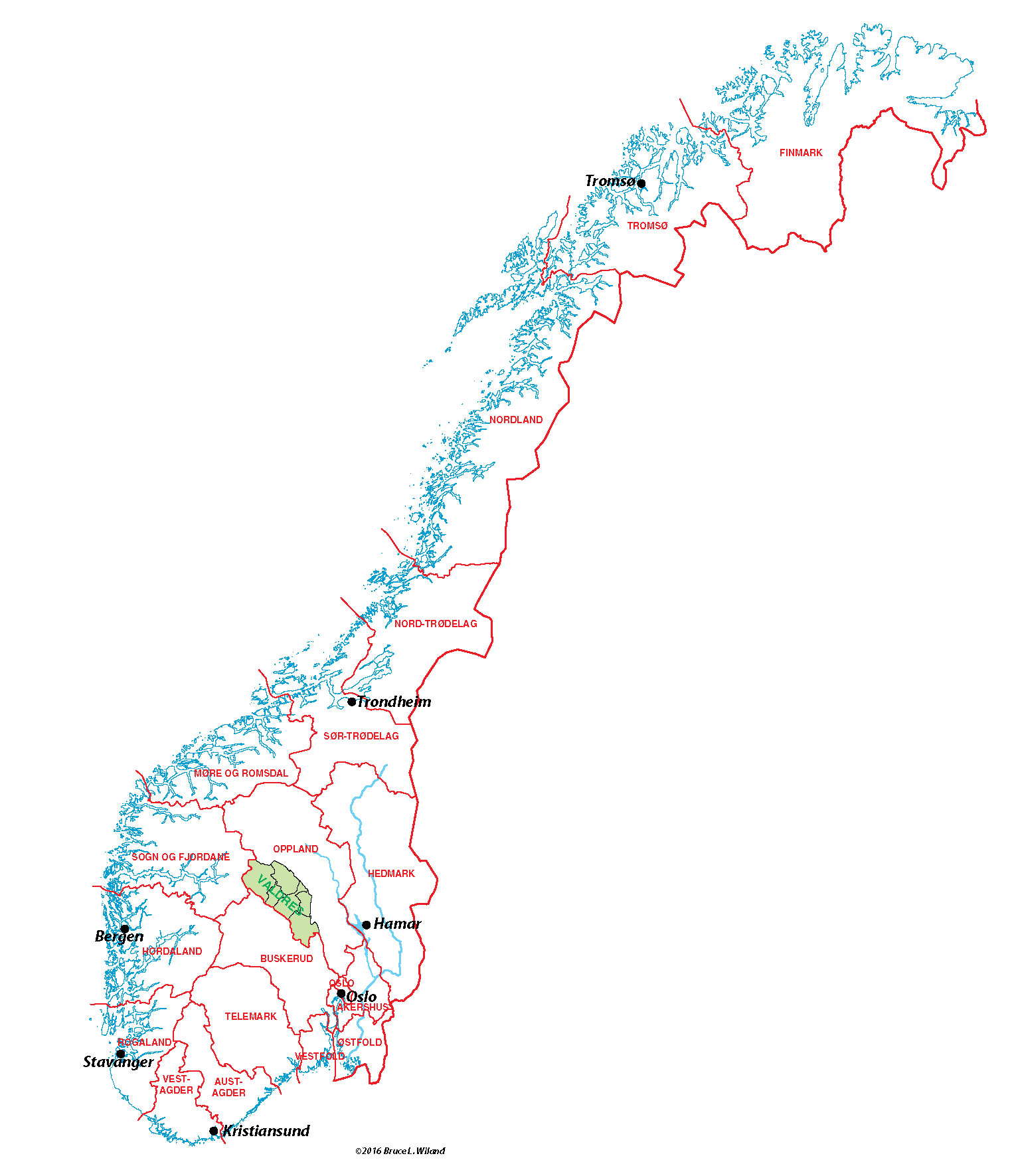 Valdres Valley Maps Norway - Norway valdres map